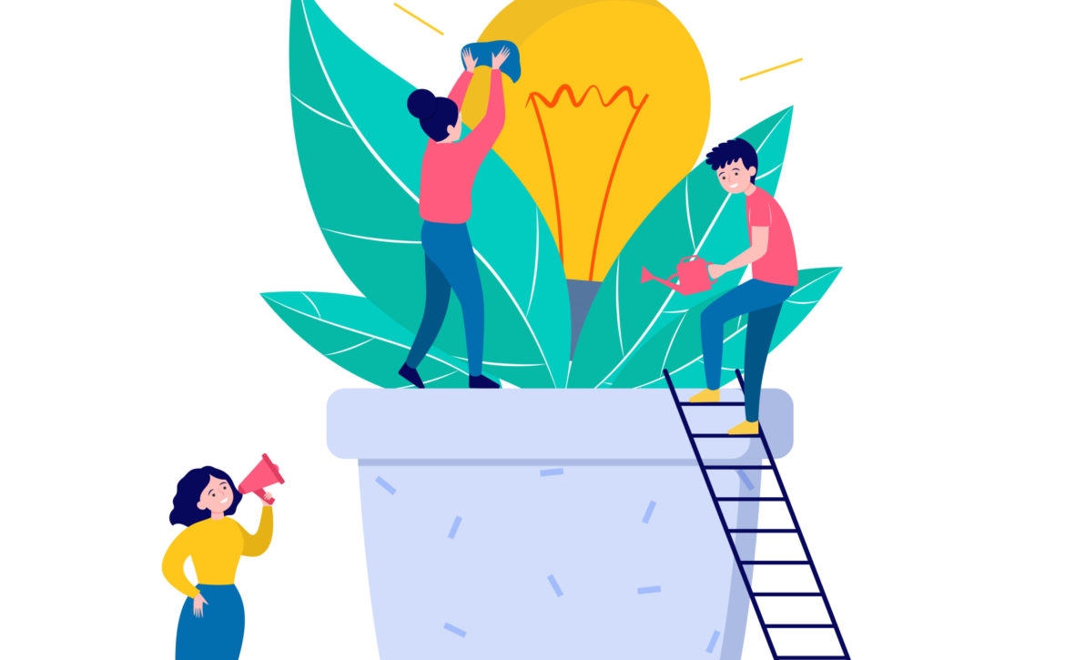 People growing new idea isolated flat vector illustration