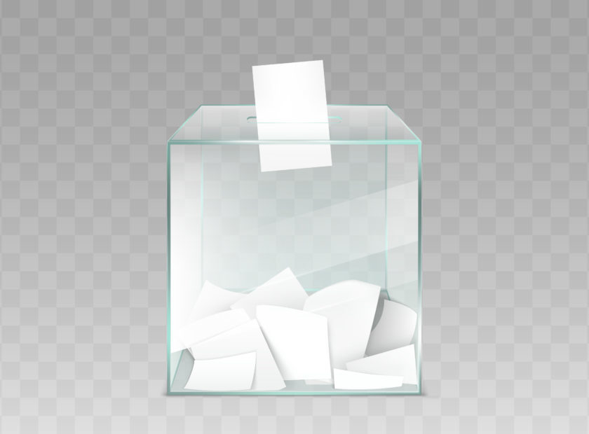 Glass ballot box with ballot papers vector